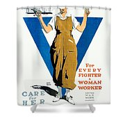1918 - Ywca Patriotic Poster - World War One - Color Shower Curtain