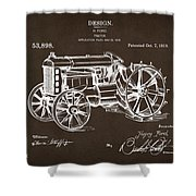 1919 Henry Ford Tractor Patent Espresso Shower Curtain by Nikki Marie Smith