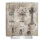 1920 Clock Patent Shower Curtain