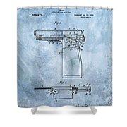1920 Handgun Patent Shower Curtain