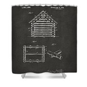 1920 Lincoln Log Cabin Patent Artwork - Gray Shower Curtain by Nikki Marie Smith
