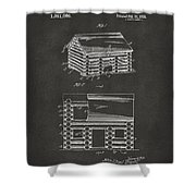 1920 Lincoln Logs Patent Artwork - Gray Shower Curtain
