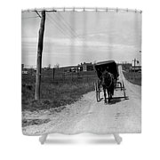 1920s 1930s Amish Man Driving Buggy Shower Curtain