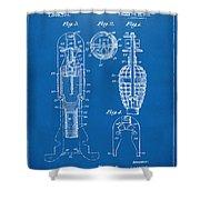 1921 Explosive Missle Patent Blueprint Shower Curtain by Nikki Marie Smith