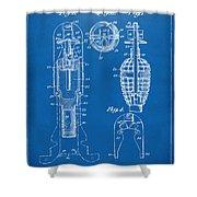 1921 Explosive Missle Patent Minimal Blueprint Shower Curtain by Nikki Marie Smith