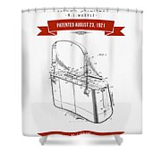 1921 Trout Basket Patent Drawing - Red Shower Curtain