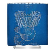 1923 Harley Davidson Engine Patent Artwork - Blueprint Shower Curtain by Nikki Smith