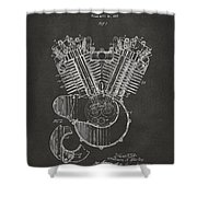 1923 Harley Engine Patent Art - Gray Shower Curtain