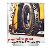 1924 - Dunlop Tires French Advertisement Poster - Color Shower Curtain