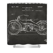 1924 Harley Motorcycle Patent Artwork - Gray Shower Curtain