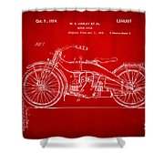 1924 Harley Motorcycle Patent Artwork Red Shower Curtain by Nikki Marie Smith