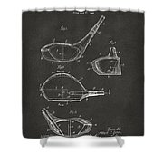 1926 Golf Club Patent Artwork - Gray Shower Curtain