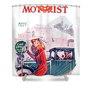 1927 - American Motorist A A A  April Magazine Cover - Color Shower Curtain