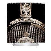 1927 Bugatti Replica Hood Ornament - Emblem Shower Curtain