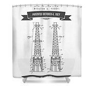 1927 Oil Well Rig Patent Drawing - Retro Gray Shower Curtain