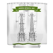 1927 Oil Well Rig Patent Drawing - Retro Green Shower Curtain