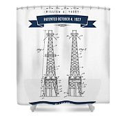 1927 Oil Well Rig Patent Drawing - Retro Navy Blue Shower Curtain