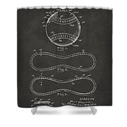 1928 Baseball Patent Artwork - Gray Shower Curtain