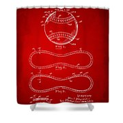 1928 Baseball Patent Artwork Red Shower Curtain