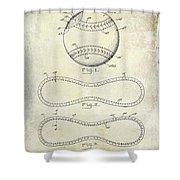 1928 Baseball Patent Drawing  Shower Curtain