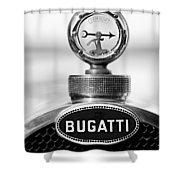 1928 Bugatti Type 44 Cabriolet Hood Ornament - Emblem Shower Curtain