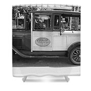 1928 Chevy Half Ton Pick Up In Black And White Shower Curtain