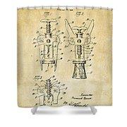 1928 Cork Extractor Patent Art - Vintage Black Shower Curtain