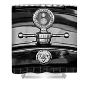 1928 Dodge Brothers Hood Ornament - Moto Meter Shower Curtain by Jill Reger
