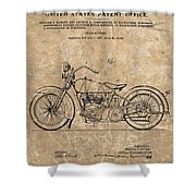 1928 Harley Davidson Motorcyle Patent Illustration Shower Curtain