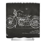 1928 Harley Motorcycle Patent Artwork - Gray Shower Curtain by Nikki Marie Smith