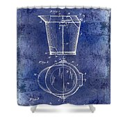 1928 Milk Pail Patent Drawing Blue Shower Curtain