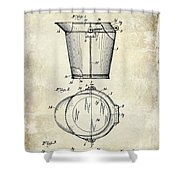 1928 Milk Pail Patent Drawing Shower Curtain