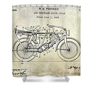 1928 Motorcycle Patent Drawing Shower Curtain