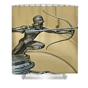 1928 Pierce Arrow Helmeted Archer Hood Ornament Shower Curtain