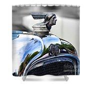 1928 Pontiac Hood Ornament And Badge Shower Curtain