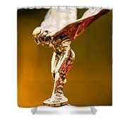 1928 Rolls-royce Phantom I Sedenca De Ville Hood Ornament Shower Curtain