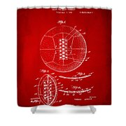 1928 Soccer Ball Lacing Patent Artwork - Red Shower Curtain by Nikki Marie Smith