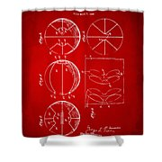 1929 Basketball Patent Artwork - Red Shower Curtain