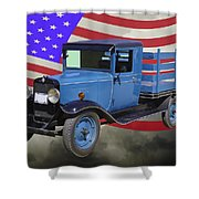 1929 Blue Chevy Truck And American Flag Shower Curtain