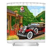 1929 Cadillac Dual Cowl Phaeton And Pegasus Shower Curtain