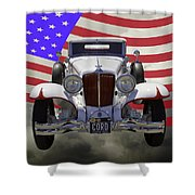 1929 Cord 6-29 Cabriolet Antique Car With American Flag Shower Curtain