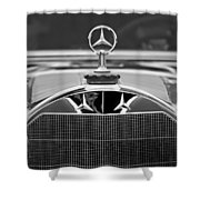 1929 Mercedes-benz S Erdmann - Rossi Cabiolet Hood Ornament Shower Curtain
