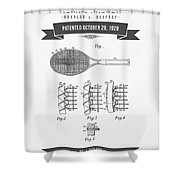 1929 Tennis Racket Patent Drawing - Retro Gray Shower Curtain