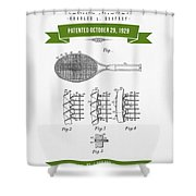 1929 Tennis Racket Patent Drawing - Retro Green Shower Curtain