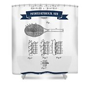 1929 Tennis Racket Patent Drawing - Retro Navy Blue Shower Curtain