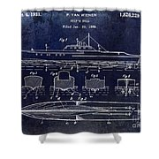 1930 Ship's Hull Patent Drawing Blue Shower Curtain