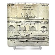 1930 Ship's Hull Patent Drawing Shower Curtain