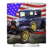1930 Model A Ford Pickup Truck And American Flag Shower Curtain