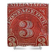1930 Three Cents Postage Due Stamp Shower Curtain