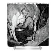 1930s 1940s Elderly Farmer In Overalls Shower Curtain